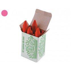 Lapices cera Jovi caja de 12 unidades color rosa