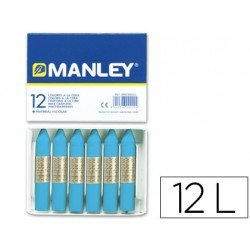 Lapices cera blanda Manley 12 unidades color azul celeste