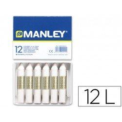 Lapices cera blanda Manley caja 12 unidades color blanco