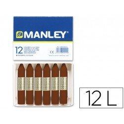 Lapices cera blanda Manley caja 12 unidades color pardo