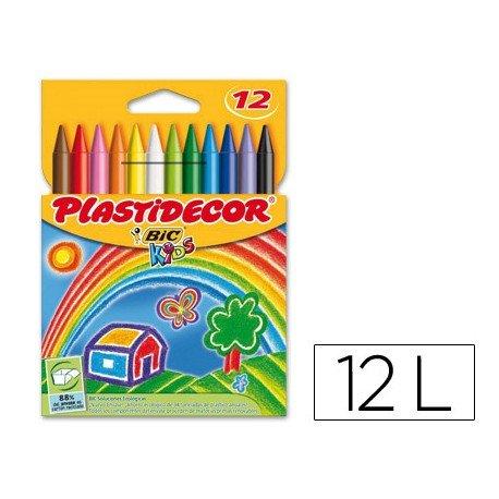 Lapices cera Plastidecor 12 unidades colores surtidos