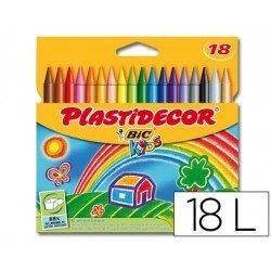 Lapices cera Plastidecor 18 unidades colores surtidos