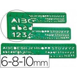 Plantilla escolar de letras y numeros juego de 3 de plastico verde