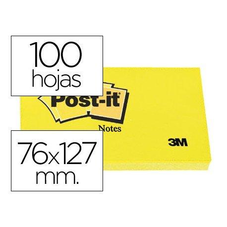 Post it, 76x127 mm. Bloc de notas adhesivas quita y pon
