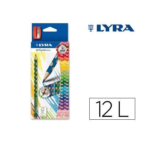 Lapices de colores Lyra Groove Slim Triangular con 12 unidades + sacapuntas