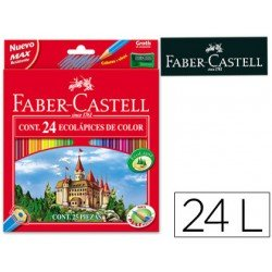 Lapices de colores Faber-Castell hexagonal caja de 24 unidades + sacapuntas