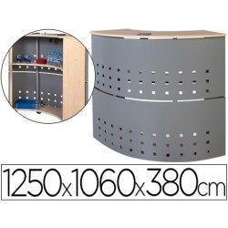 Mostrador recepcion Rocada aluminio-haya 90 grados
