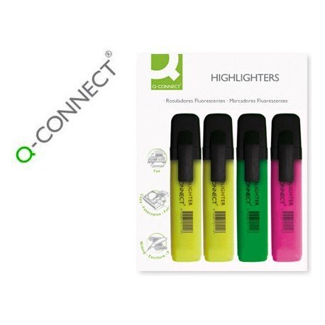 Rotulador fluorescentes Q-Connect Pack 4 Surtido