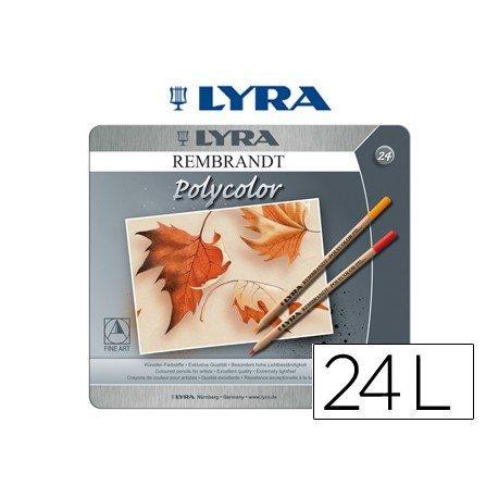 Lapices de colores Lyra Rembrandt polycolor hexagonales caja de 24 unidades