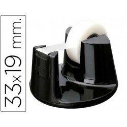 Portarrollo sobremesa Tesa plastico redondo negro para rollos de hasta 33m x 19mm