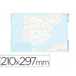 Mapa mudo España político blanco y negro