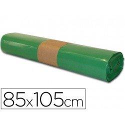 Bolsa basura verde 85x105cm uso industrial galga 110 rollo de 10 unidades
