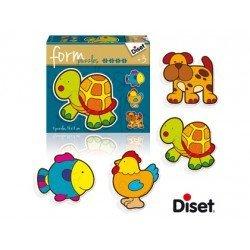Puzzle a partir de 3 años Formas animales 14 piezas 4 figuras Diset