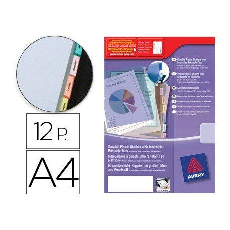 Separador Avery de plastico con 12 pestañas de indice personalizable tamaño din a4