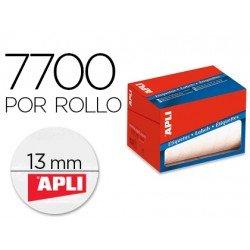 Etiqueta Apli adhesiva 1671 13 mm redondas rollo de 7700 unidades blancas