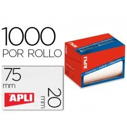 Etiqueta adhesiva Apli 1687 20x75 mm redondas rollo de 1000 unidades blancas