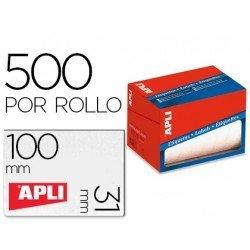 Etiqueta adhesiva Apli 1692 31x100 mm redondas rollo de 500 unidades blancas