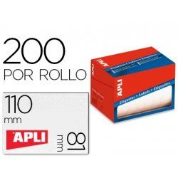 Etiqueta adhesiva Apli 1705 81x110 mm redondas rollo de 200 unidades blancas