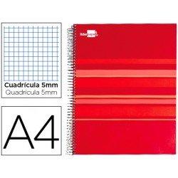 Bloc espiral Liderpapel serie Classic Din A4 tapa forrada roja