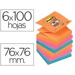 Post-it ® Bloc quita y pon colores electricos zigzag 76 x 76 mm