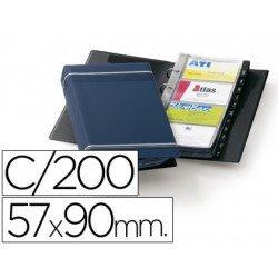 Tarjetero Duraclip Visifix azul 25 fundas para 200 tarjetas tamaño din a4 incluye 12 separadores