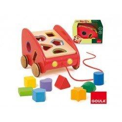 Juego para bebes de Arrastre a partir de 1 año Coche arrastre y encajable marca Goula