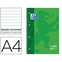 Bloc Oxford Din A4 tapa extradura microperforado Book1 rayado Verde