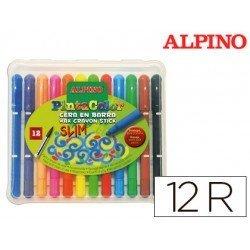 Estuche de lapices de cera en barra Alpino 12 colores surtidos