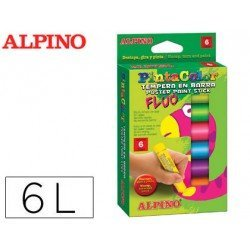 Tempera en barra Alpino 6 Colores fluor Surtidos