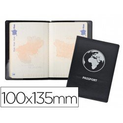 Funda pasaporte Exacompta doble solapa negro