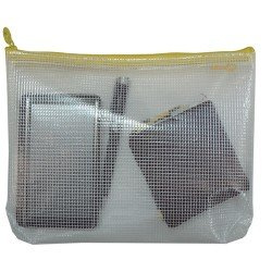 Bolsa multiusos transparente impermeable cremallera amarilla