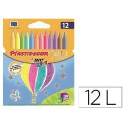 Lapices de cera Plastidecor 12 colores pastel y metalico