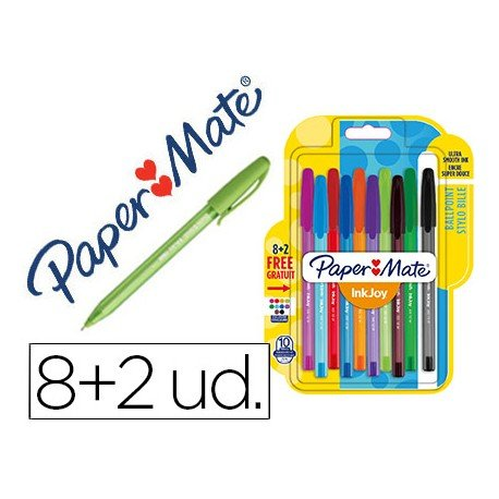 Boligrafo Paper Mate Inkjoy 100 0,4 mm pack 8+2 unidades colores surtidos