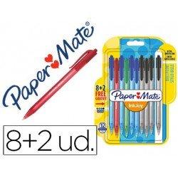 Boligrafo Paper Mate Inkjoy 100 retráctil 1 mm pack 8+2 unidades Colores surtidos