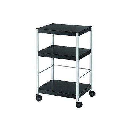 Mesa auxiliar Fast-Paperflow con 3 estantes negro 74x45x36 cm (78510)