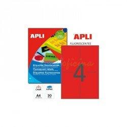 Etiqueta Adhesiva Apli 99,1 x 139 mm rojo fluor