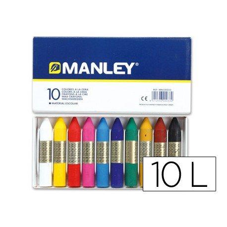 Lapices cera blanda Manley caja 10 unidades