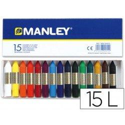 Lapices cera blanda Manley caja 15 unidades
