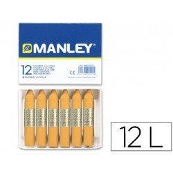 Lapices cera blanda Manley caja 12 unidades color ocre