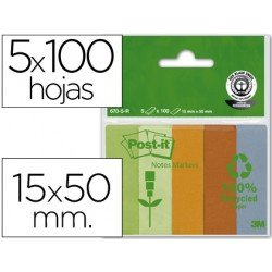 Post-it ® Bloc notas adhesivas recicladas 15 x 50 mm