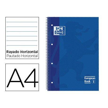 Bloc Oxford Din A4 tapa extradura microperforado Book1 rayado Azul