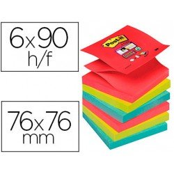 Bloc Quita y Pon Post-It ® Super Sticky Z-Notes 76X76 mm Bora Bora