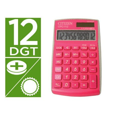 Calculadora Bolsillo Citizen CPC-112PKWB 12 Digitos Fucsia Serie Wow