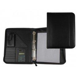 Portadocumentos tipo Carpeta Csp Negro con calculadora y bolsa para movil