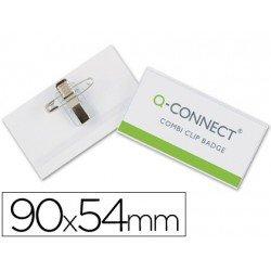 Identificadores Q-Connect Imperdible y Pinza en PVC 9x5,4 cm