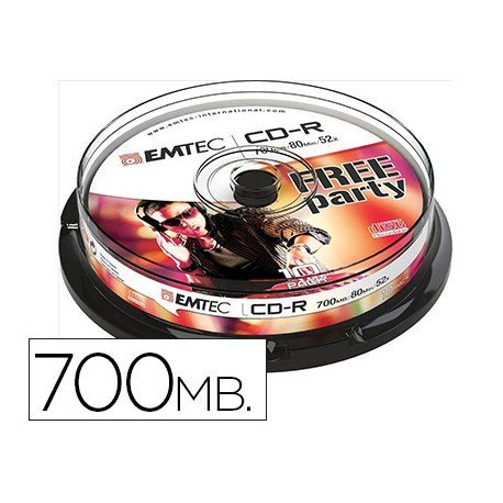 CR-R Emtec 700mb 80min velocidad 52X 10 unidades