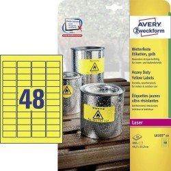 Etiqueta Adhesiva Avery 45,7x21,2 mm Poliester Amarillo Caja de 20 hojas
