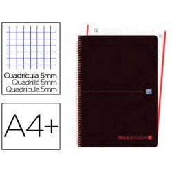 CUADERNO ESPIRAL OXFORD EBOOK 4 TAPA EXTRADURA DIN A4+ 120 H CUADRICULA 5 MM BLACK'N COLORS ROJO
