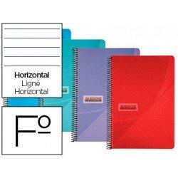 Cuaderno espiral Papercop Folio Rayado Horizontal 90 gr Colores surtidos