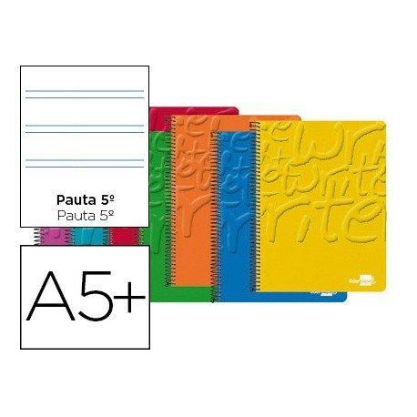 Bloc Cuarto espiral Tapa cartoncillo impreso serie Write Liderpapel pauta 2.5 mm